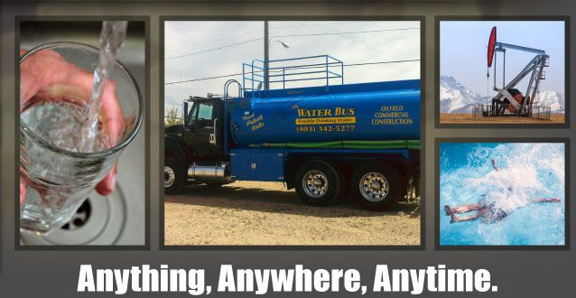 Anything, Anywhere, Anytime. | Pouring water | Company truck | Oilfield | Person splashing in pool
